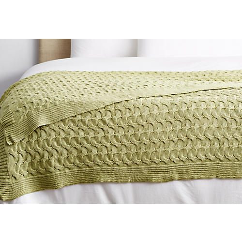 Majorca Cotton Throw, Green