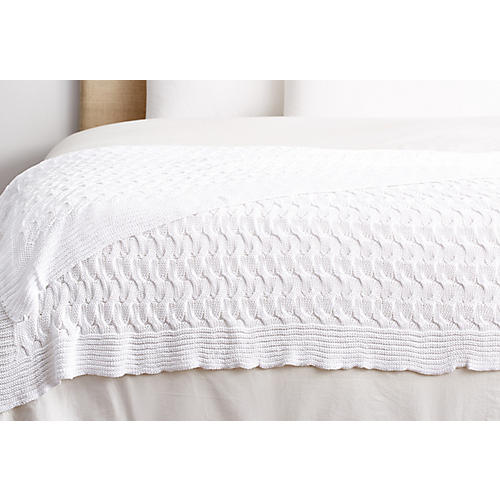 Majorca Cotton Throw, White