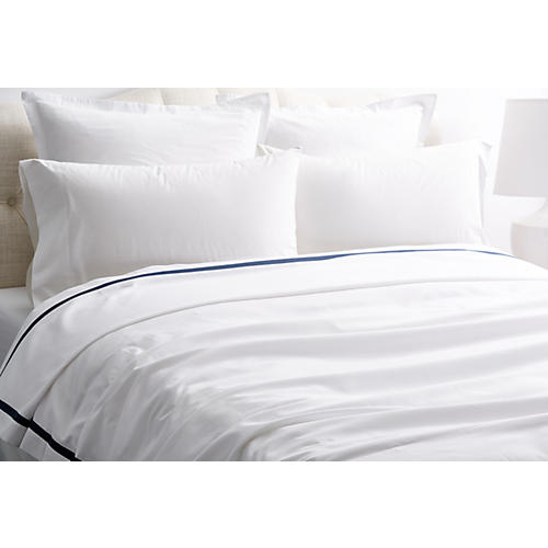 Pique Tailored Coverlet, Navy