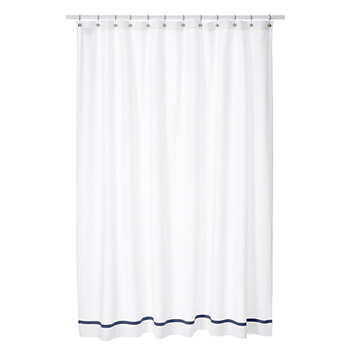 Pique Tailored Shower Curtain, Navy