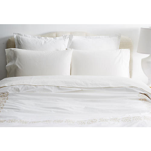 Vienna Embroidered Duvet, Beige