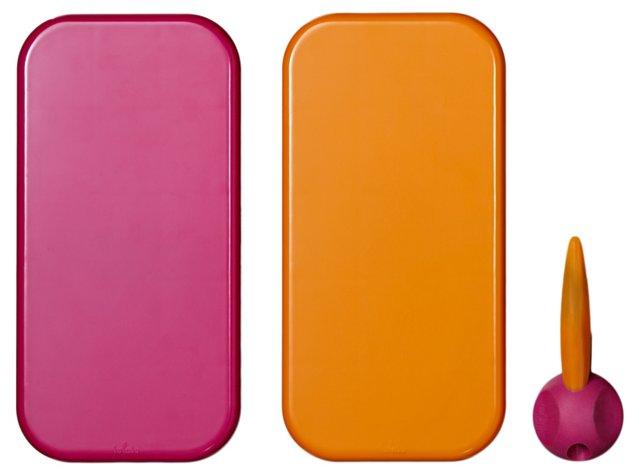 S/2 Dry Erase Boards, Orange/Pink