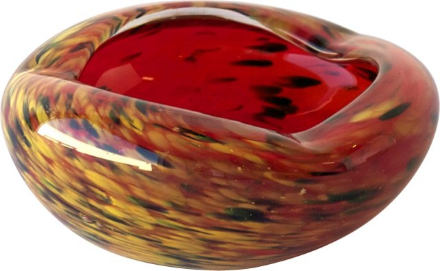 Small Blood Red Murano Bowl