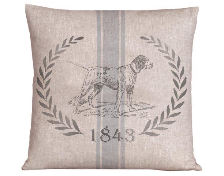 Vintage Dog 20x20 Pillow, Nordic Blue