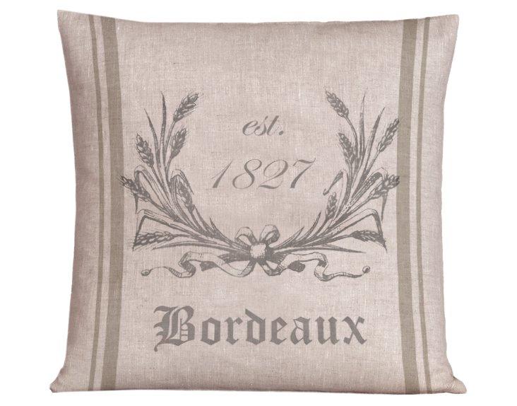 Bordeaux Wreath 20x20 Pillow, Taupe