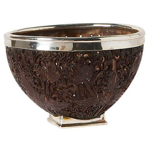 "4"" Coconut Shell & Sterling-Silver Bowl"