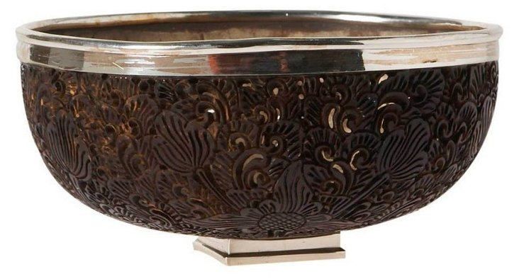 "6"" Coconut Shell & Sterling-Silver Bowl"