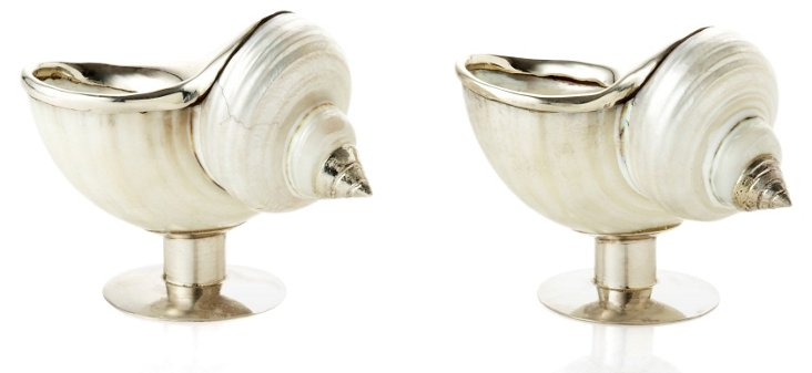 S/2 White Turban Shell Salt Cellars