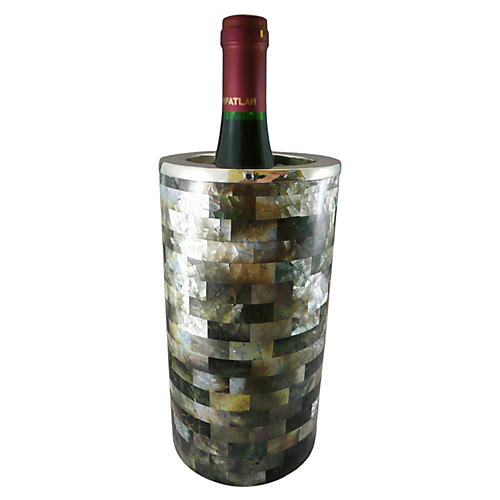 Mother-of-Pearl & Sterling Wine Cooler