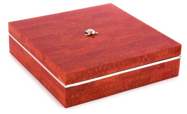 "10"" Shell Box w/ Sterling Accent, Coral"