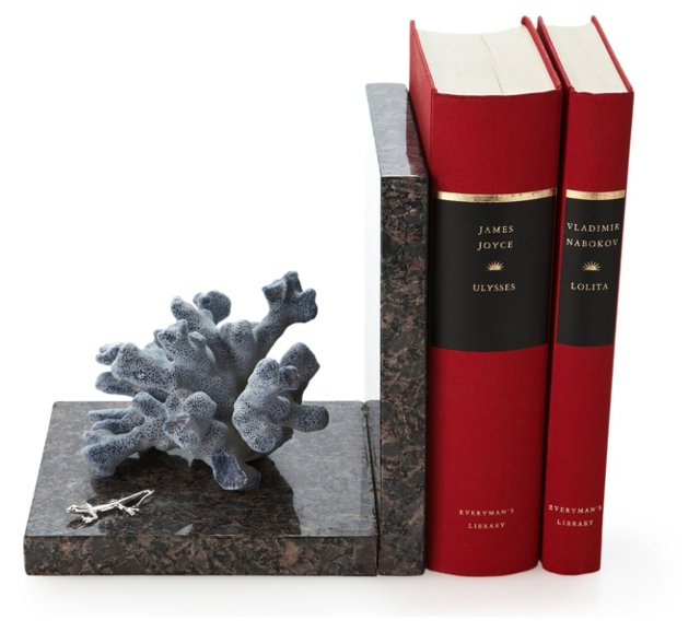 Coral Bookend w/ Sterling Silver, Blue