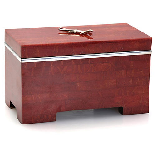 "6"" Coral Box w/ Sterling Salamander, Red"