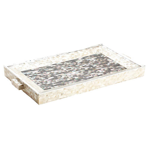 "24"" Mother-of-Pearl & Sterling Tray"