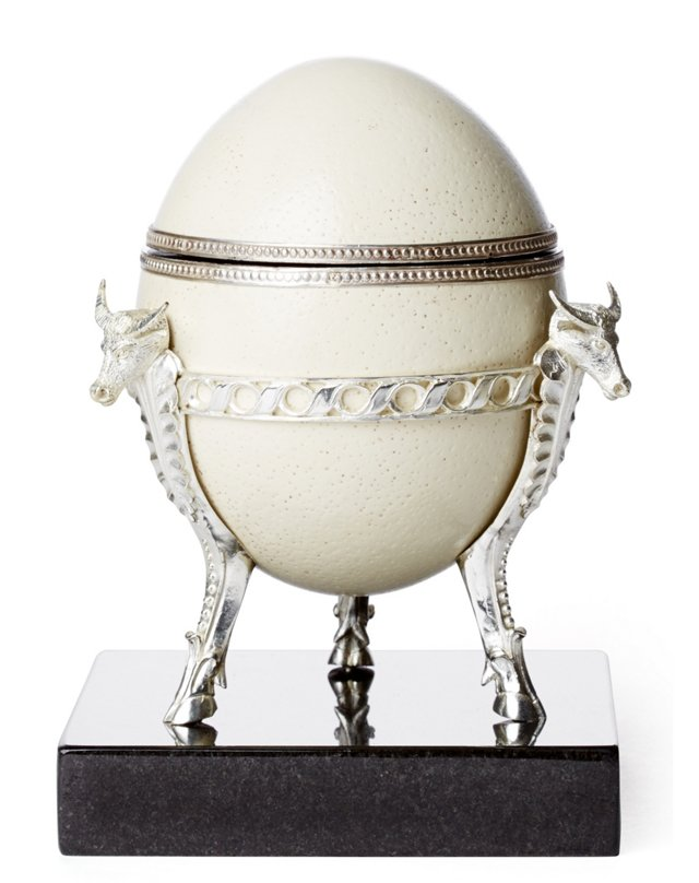 Ostrich Egg w/ Sterling-Silver Accent