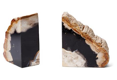 S/2 Petrified-Wood Bookends, Dark Wood