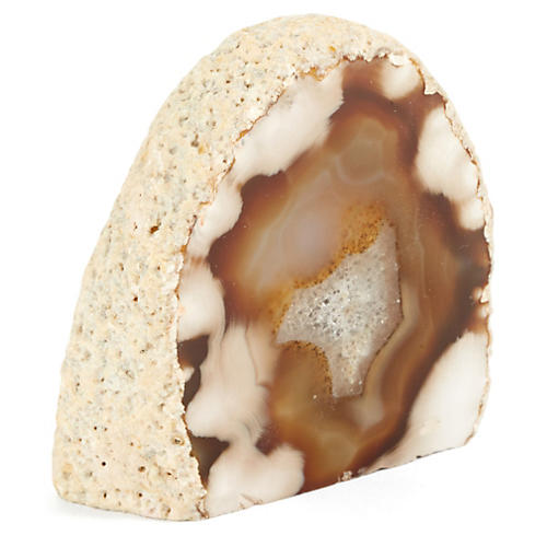 Agate Paperweight, Brown/White