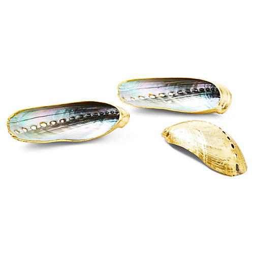 S/3 Plated Abalone Shells, Rose Gold