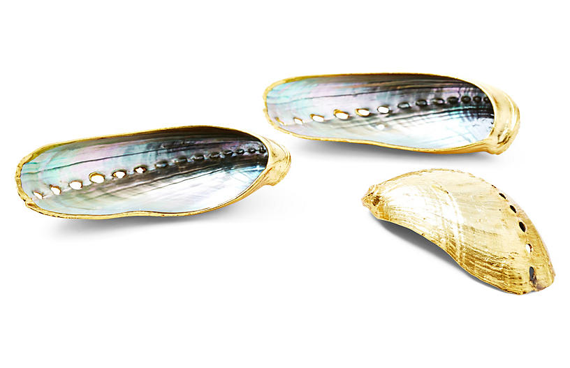 Set of 3 Rose-Gold-Plated Abalone Shells