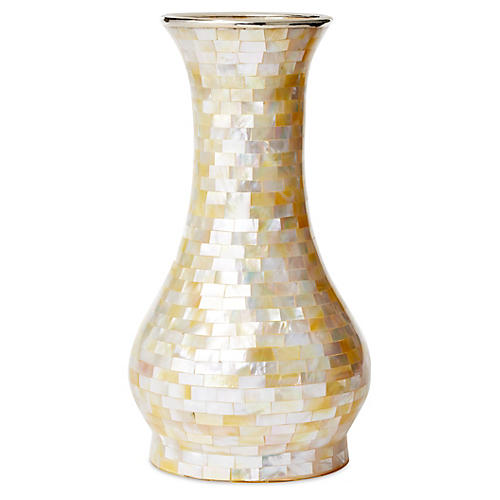 """10"""" Round Mother-of-Pearl Vase w/ SS"""