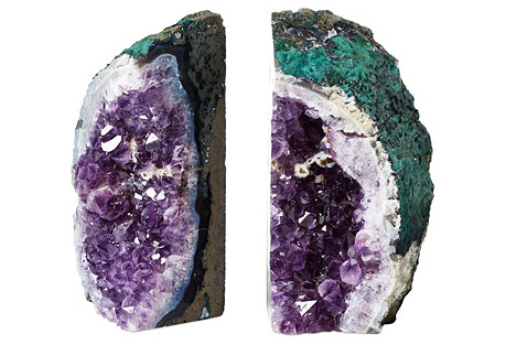 S/2 Large Amethyst Geode Bookends