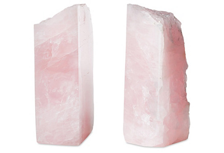 S/2 Large Rose Quartz Bookends
