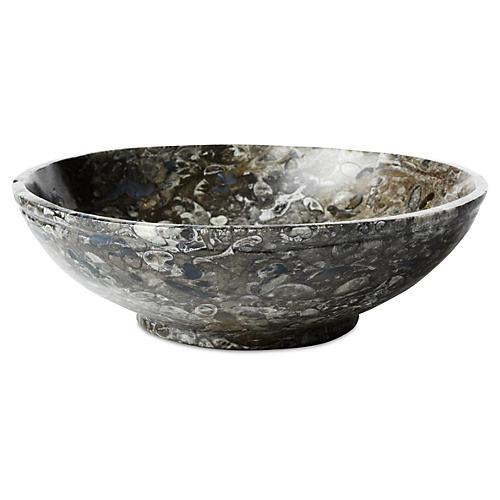"10"" Fossils Bowl, Black/White"