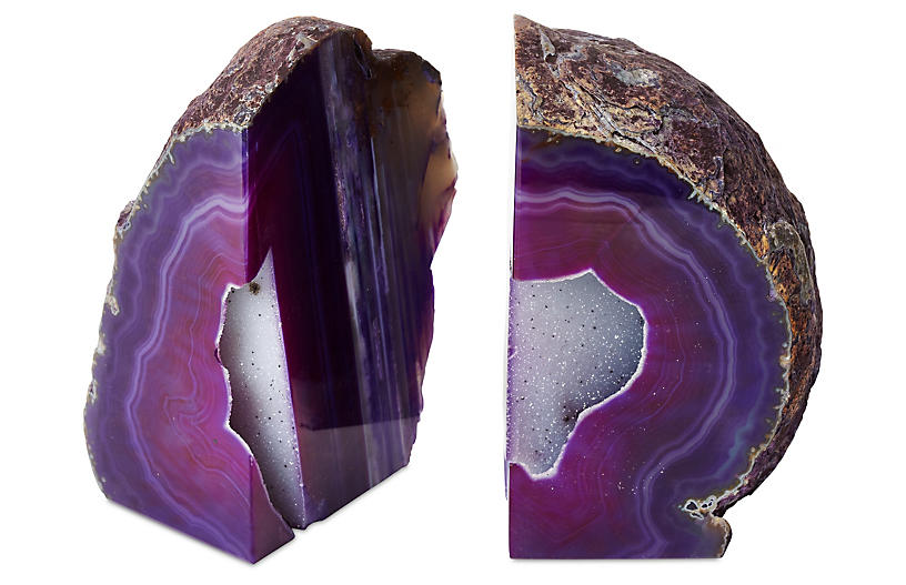 Set of 2 Large Geode Bookends - Purple
