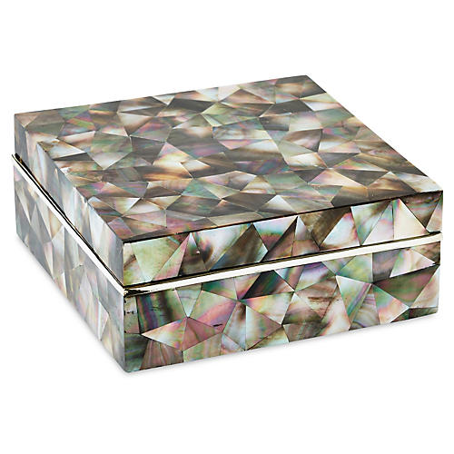 Mother-of-Pearl Box, Black/Silver