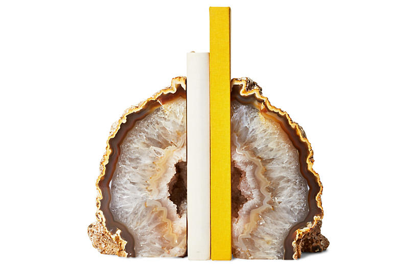 Agate Geode Bookends