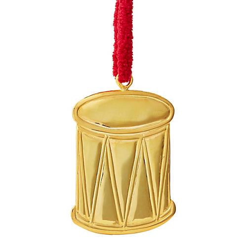 "3"" 18K Gold Drum Ornament"