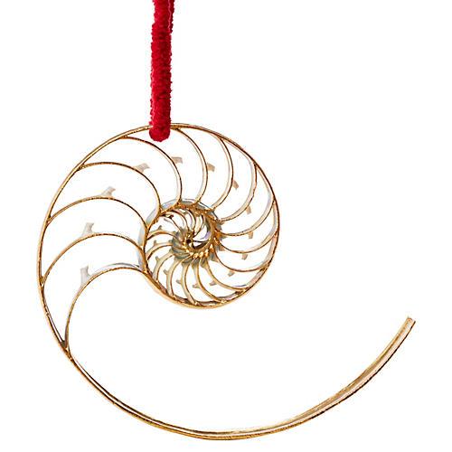 "5"" 18k Gold Nautilus Shell Ornament"