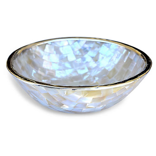 "7"" Ursula Mother-of-Pearl Bowl, Natural/Silver"