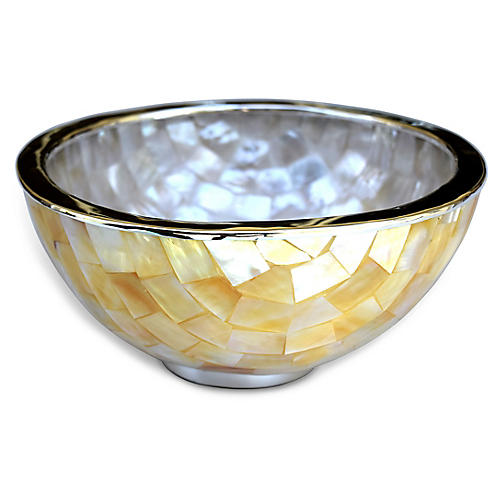 "6"" Greenwich Mother-of-Pearl Bowl, Natural/Silver"