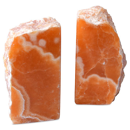 S/2 Calcite Bookends, Orange