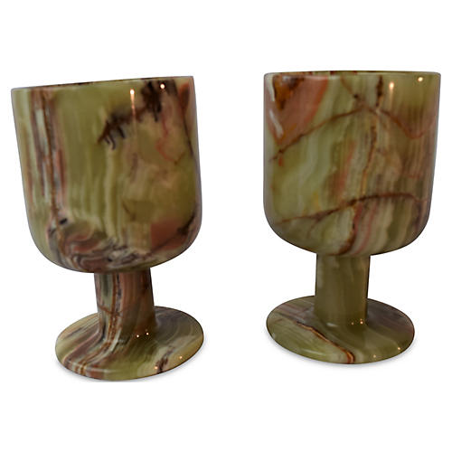 S/2 Onyx Decorative Goblets, Green/White