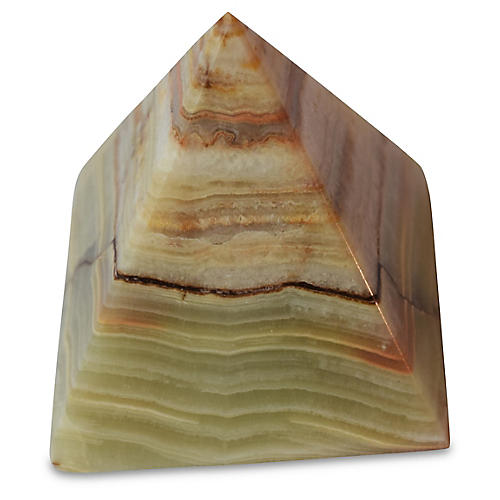 "3"" Onyx Pyramid Obelisk, Green/White"
