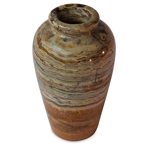 """8"""" Onyx Round Vase, Green/White"""