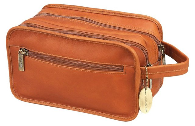 Leather Dopp Kit, Saddle
