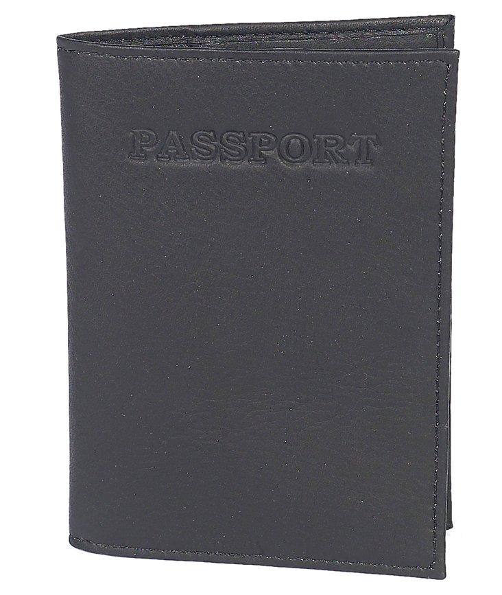Leather Passport Case, Black