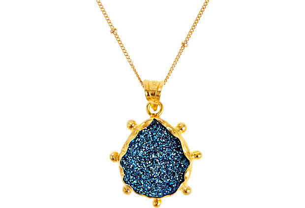 Teardrop Sunburst Pendant, Blue Drusy, jewelery, one kings lane