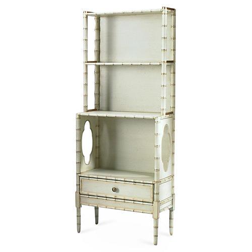 """Camille 48"""" Bamboo Bookcase, Cream"""