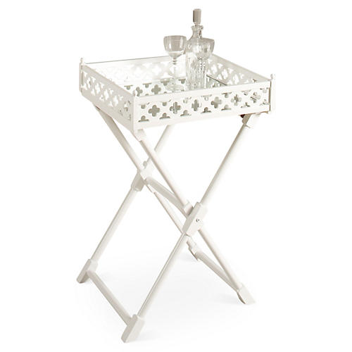 Abel Mirrored Tray Table, White