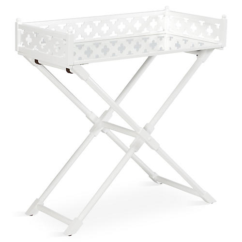 Ashley Mirrored Side Table, White