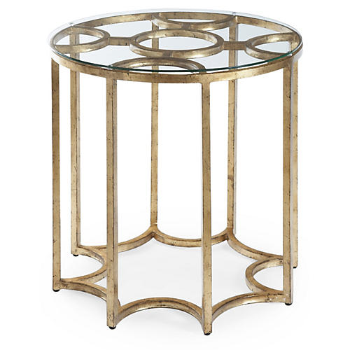 Astor Round Side Table, Antiqued Gold