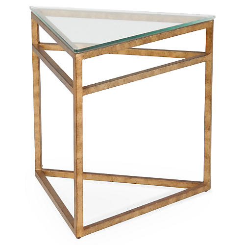 Murray Triangular Side Table, Gold