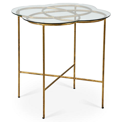 Nadine Knot Side Table, Antiqued Gold