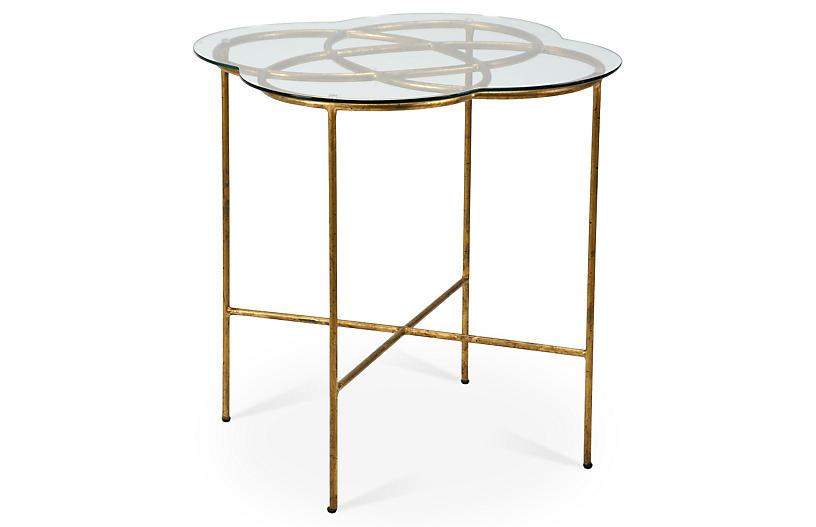 Nadine Knot Side Table, Antiqued Gold