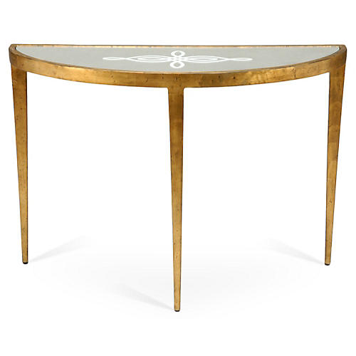 Hayes Celtic Knot Demilune Console, Gold