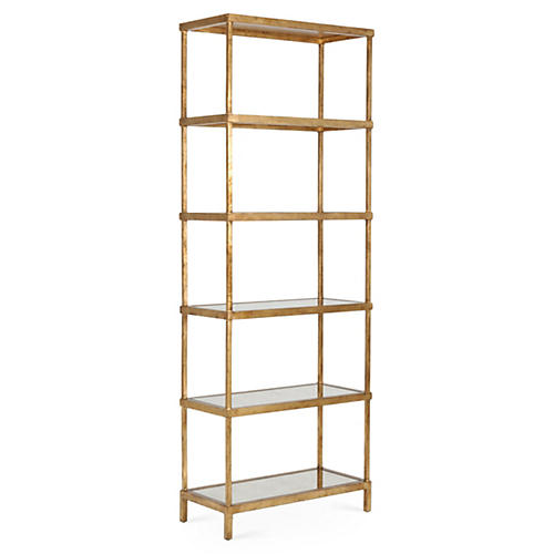 "Rowland 82"" Mirrored Étagère, Gold"