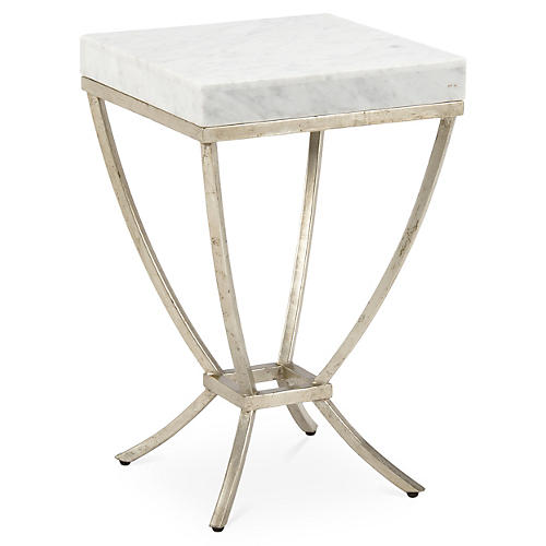 Haskell Marble Side Table, Silver